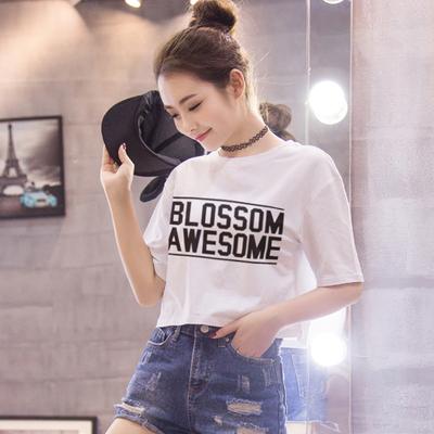 漏脐白色T恤女字母纯色短款学生高腰漏肚脐夏季新款纯棉宽松上衣