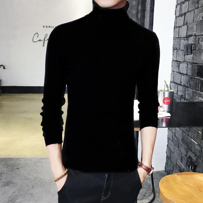 韩版男士修身纯色高领针织衫毛衣两翻领打底衫紧身线衣加绒厚男装