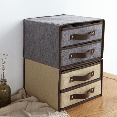 棉麻无纺布收纳盒 两层抽屉式内衣杂物布艺收纳盒A51