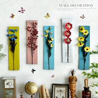 原创木板干花组合餐厅客厅墙面挂饰家居店铺创意壁挂装饰品挂件