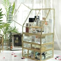 玻璃化妆品收纳盒 防尘双开门收纳柜 抽屉式收纳盒 桌面梳妆台收