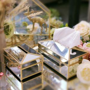 创意玻璃纸巾盒 黄铜镜面抽纸盒高档装饰家用抽纸盒客厅茶几 订制