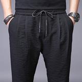 男裤子夏季男士超薄冰丝宽松长裤薄款运动男装韩版潮流哈伦休闲裤