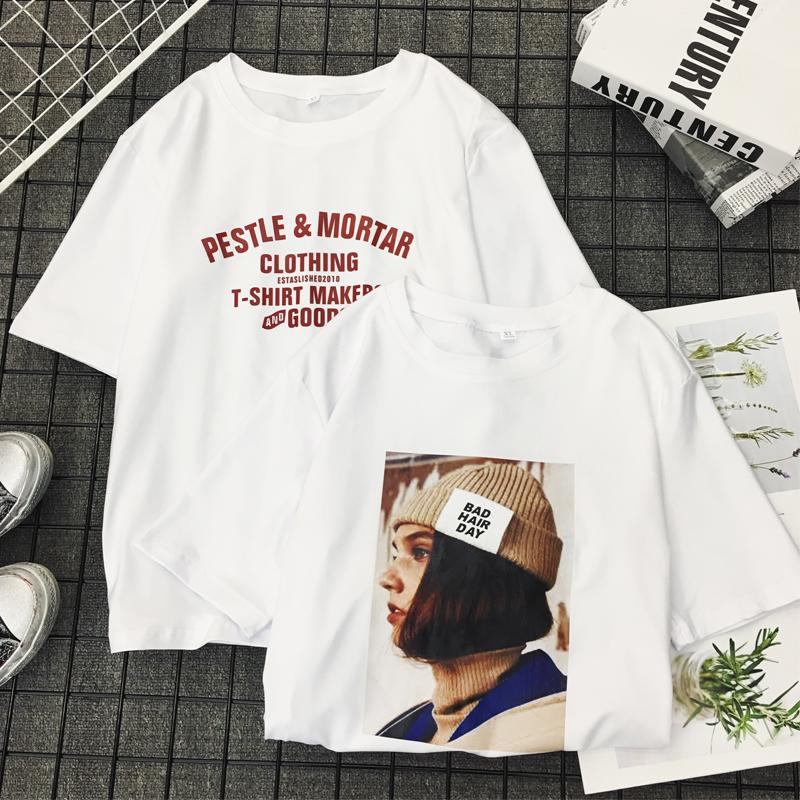 白色t恤女短袖 2018新款夏季休闲韩版宽松简约学生字母纯棉体恤女