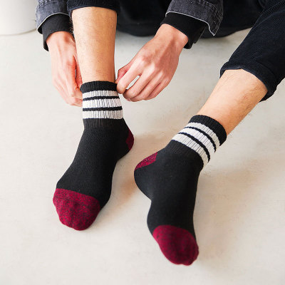 袜子男冬季中筒日系毛线纯棉袜男士加厚潮民族风秋冬款袜子男长袜
