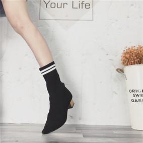尖头短靴女春秋2018新款性感粗跟搜搜裸靴拼色针织毛线弹力袜靴女