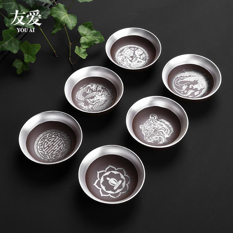 紫砂纯手工银杯子999纯银大号茶杯功夫茶具主人杯家用鎏银品茗杯图片