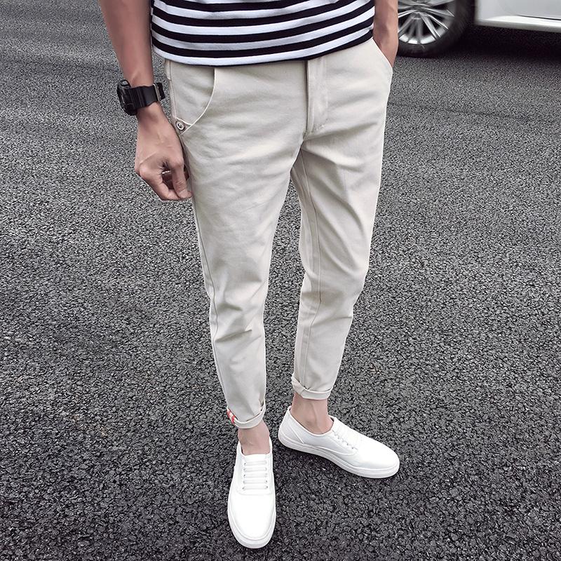 男裤九分裤藏青色
