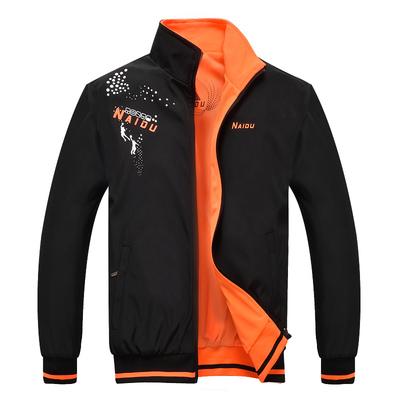 耐都春秋青年男装外套工作服双面穿加肥加大码学生夹克运动薄上衣