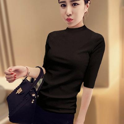 五分袖半高领黑色打底衫女中袖上衣秋装2018新款纯棉紧身t恤半袖