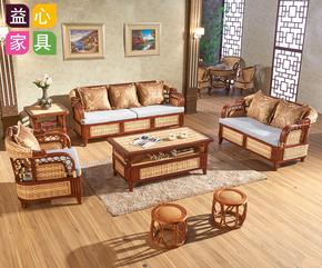 藤编藤艺沙发组合客厅自然藤椅沙发三人竹藤沙发布艺藤沙发藤家具