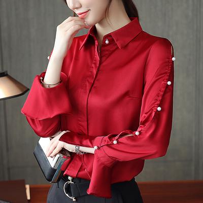 2018秋季新款韩版时尚钉珠长袖衬衫上衣女装显瘦百搭OL通勤衬衣女