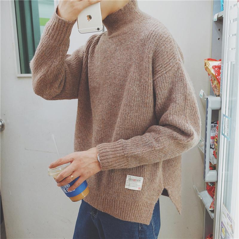 秋冬季韩版潮流青年长袖半高领宽松开叉毛衣男青少年潮蝙蝠针织衫3元优惠券