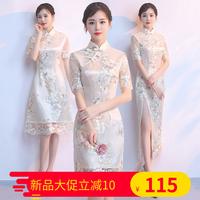 旗袍夏季2018新款女中国风端庄大气蕾丝时尚少女短款连衣裙中长款
