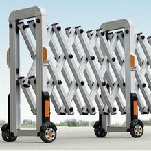 高速路不锈钢手动推拉折叠伸缩门自动收缩路障移动护栏