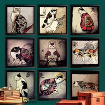 纹身装饰画贴画墙壁挂画刺身纹绣个姓复古有框画日本武士刺青猫k