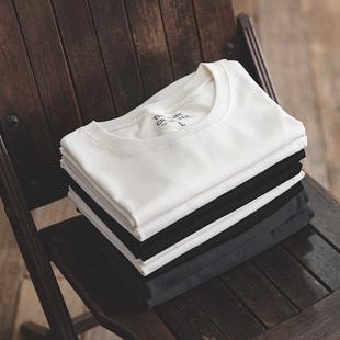 代购 黑白两件220g纯棉短袖 打底衫 丝光棉t恤纯色圆领T盒装 经典