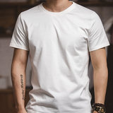 Purchasing classic black and white two pieces 220g cotton short-sleeved mercerized cotton t-shirt solid color round neck T-box bottoming shirt male