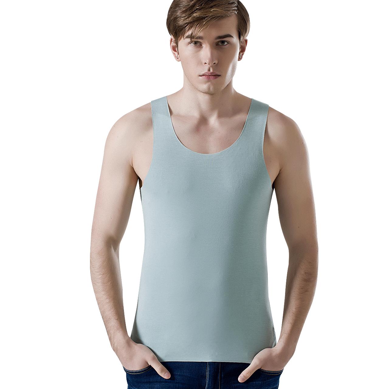男士背心莫代尔无痕修身型运动紧身健身跨栏背心纯色打底衫男春夏