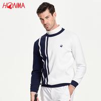 HONMA春季针织衫高尔夫服装男GOLF竖条纹运动休闲套头针织毛衫