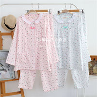 Spring and summer cotton double gauze ladies long sleeves month clothes cotton pregnant women pajamas postpartum feeding clothes breastfeeding clothes