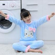春秋季儿童睡衣中大女童长袖套装女孩卡通翻领全棉童装家居服