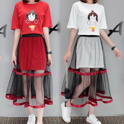 闺蜜姐妹女装春夏季时尚套装女上衣服短裙一套搭配学生全整套小码