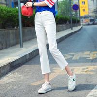 白色牛仔裤女八分高腰秋季2018新款宽松显瘦薄款韩版直筒裤九分裤