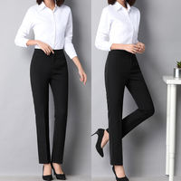 Pants women's professional straight trousers Slim work pants spring and summer nine points pants black dress high waist suit pants