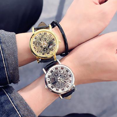 韩国时尚潮男士手表防水真皮带双面镂空非机械女学生石英情侣腕表最新报价