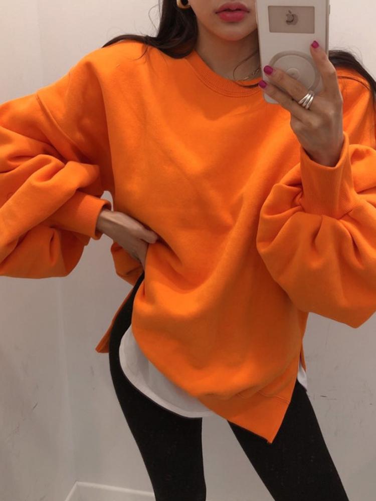 鬼鬼家 韩国代购冬 百搭简单基本款泡泡袖侧开叉设计纯色卫衣