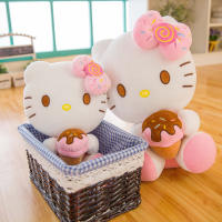 New Hellokitty Doll Hello Kitty Plush Toys Creative Ice cream kt Cats Birthday Gift Girl
