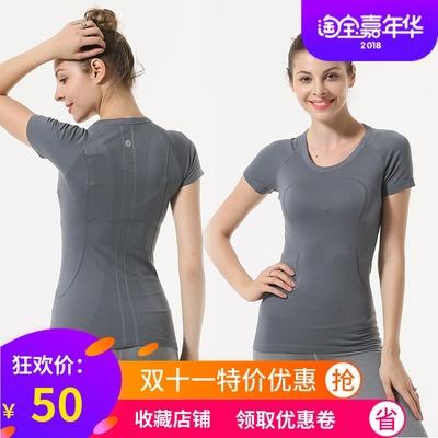 夏季瑜伽服LULU短袖吸汗速干t恤跳操健身房运动跑步衣上衣女