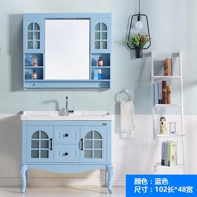 地中海浴室柜组合PVC落地式卫浴柜洗脸盆面盆手盆柜欧式美式田园