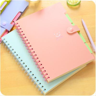 微笑心情彩色挡板记事本 简约小清新 创意线圈本按扣笔记本小本子