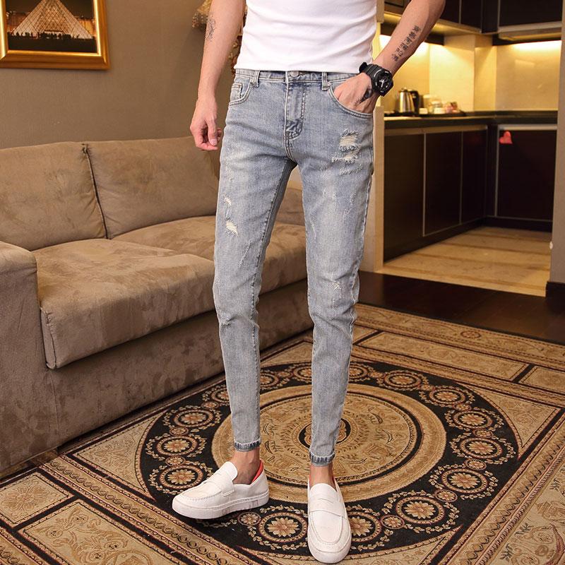 夏季男裤韩版破洞浅色牛仔裤男男士百搭弹力小脚裤修身青年九分裤