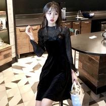 大码女装2018秋冬新款连衣裙胖妹妹性感显瘦赫本丝绒小黑裙性感女