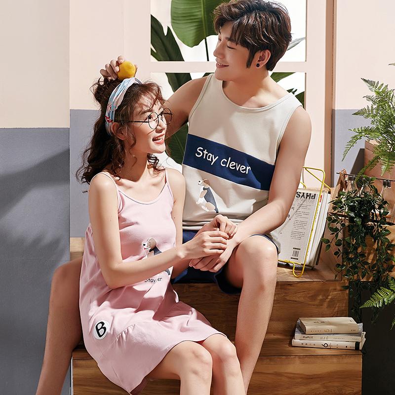 2套价韩版情侣睡衣女夏纯棉可爱卡通性感吊带睡裙男士背心家居服