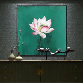 新中式装饰画荷花现代简约挂画莲花画客厅玄关走廊三联工笔画乾图