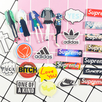 Acrylic Harajuku Department brooch personality Super Patch brand logo custom bag accessories personalized Text