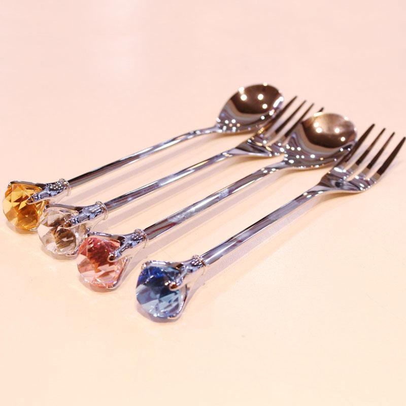 钻石水晶餐具304不锈钢叉子勺子搅拌棒西餐叉勺学生饭勺大头勺