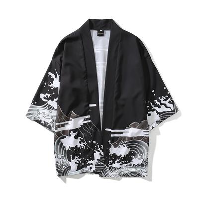 日系复古暗黑浮世绘道袍开衫和服男女中国风宽松七分袖衬衣外套潮