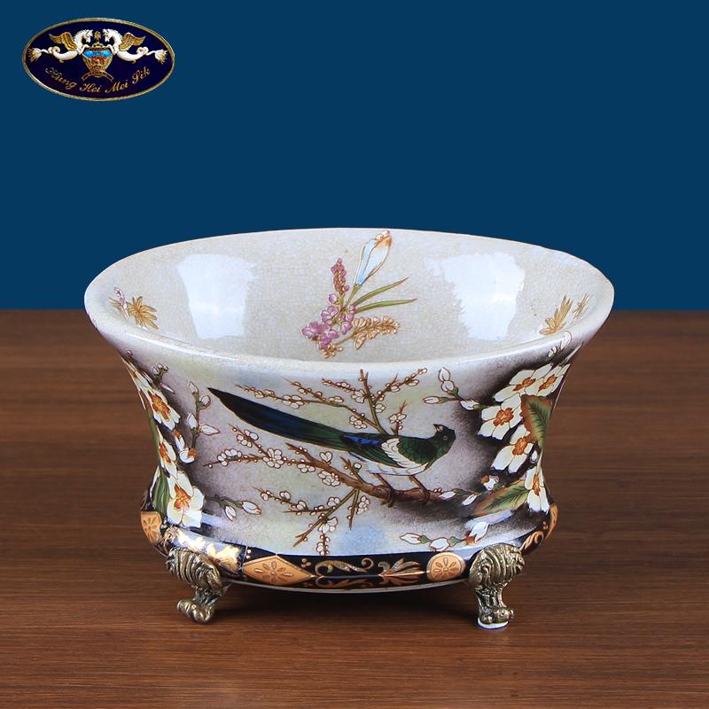 欧式田园陶瓷彩绘装饰碗摆件 创意放钥匙门口玄关酒柜摆设工艺品