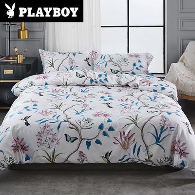 PLAYBOY花花公子60支贡缎长绒棉四件套全棉被套床单纯棉床上用品