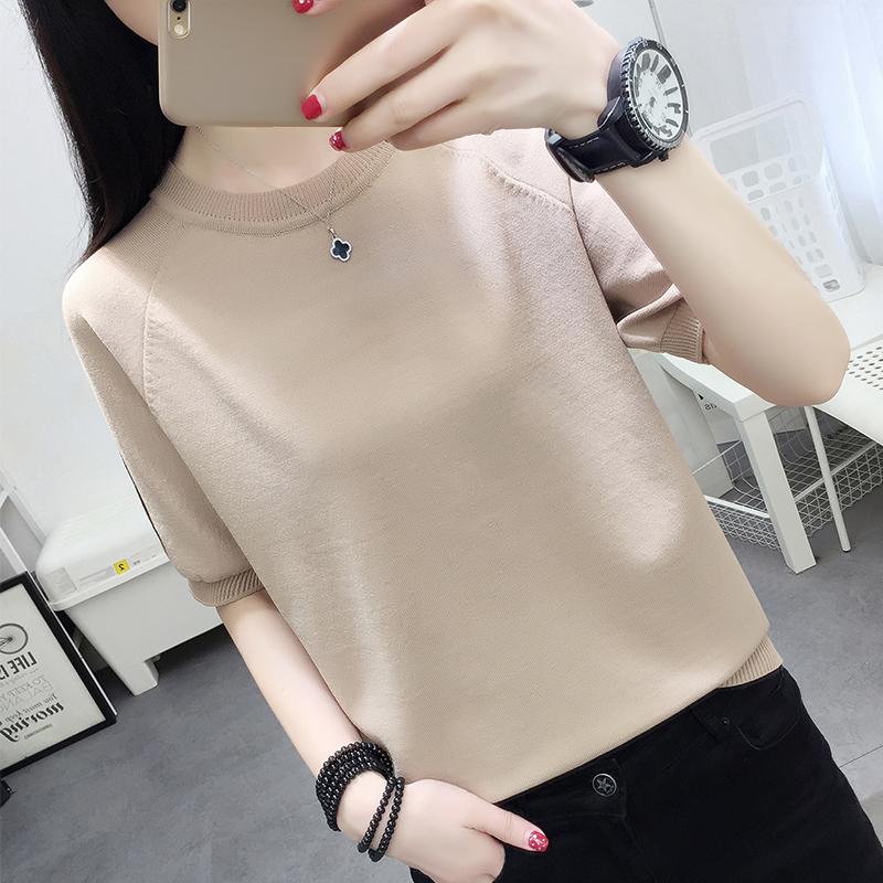 t恤女夏季新款短袖宽松套头圆领条纹冰丝针织衫时尚薄款韩版上衣