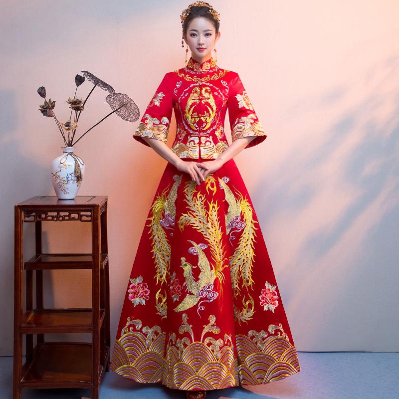 秀禾服新娘2018新款中式礼服嫁衣女龙凤褂结婚敬酒服秀和服出阁服