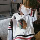 Euro-American retro long sleeve T-shirt hockey clothes for men and women