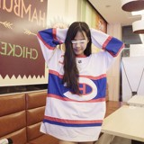 Harajuku big code BF wind OVERSIZE European hip-hop long-sleeved T-shirt women's basketball dress jersey