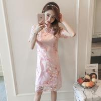 改良旗袍夏季2018新款少女低领时尚小香风蕾丝连衣裙中长款中国风