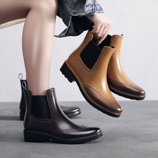 New carved Chelsea rain boots women's fashion boots shoes waterproof rubber shoes non-slip short boots rain boots adult water shoes